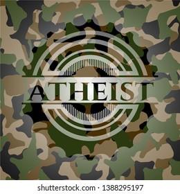 Atheist camo emblem. Vector Illustration. Detailed.