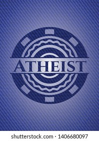 Atheist emblem with jean texture. Vector Illustration. Detailed.