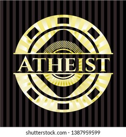 Atheist gold shiny badge. Vector Illustration. Detailed.