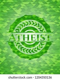 Atheist green emblem. Mosaic background