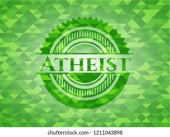 Atheist green emblem with mosaic background