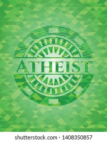Atheist green emblem with triangle mosaic background. Vector Illustration. Detailed.