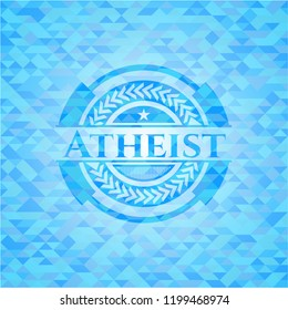 Atheist light blue emblem. Mosaic background