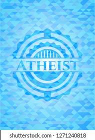 Atheist light blue emblem with triangle mosaic background