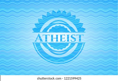 Atheist light blue water emblem background.