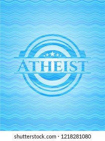 Atheist light blue water wave badge background.
