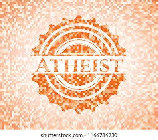 Atheist orange mosaic emblem