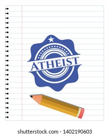 Atheist pen draw. Blue ink. Vector Illustration. Detailed.