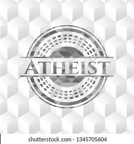 Atheist realistic grey emblem with geometric cube white background