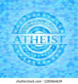 Atheist realistic light blue emblem. Mosaic background
