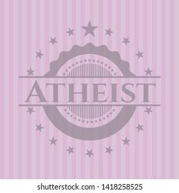 Atheist realistic pink emblem. Vector Illustration. Detailed.