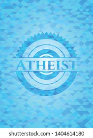 Atheist sky blue emblem with mosaic ecological style background