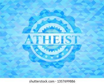 Atheist sky blue emblem with triangle mosaic background