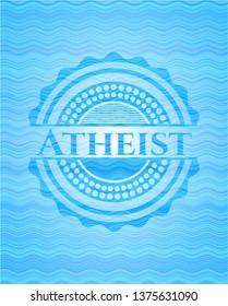 Atheist sky blue water wave emblem.