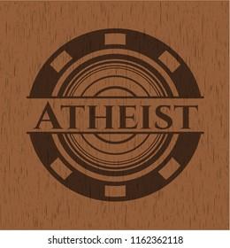 Atheist vintage wooden emblem
