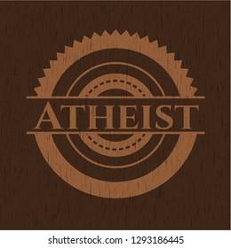 Atheist wooden emblem. Vintage.