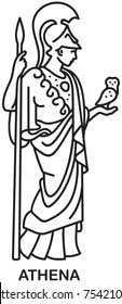 Athena, Ancient Greek goddess of wisdom, craft, and war line draw style vector icon
