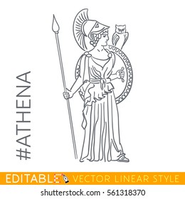 Athena. Goddess of reason, wisdom, intelligence, skill, peace, warfare, battle strategy, and handicrafts. Series Greek gods. Editable line drawing. Stock vector illustration.