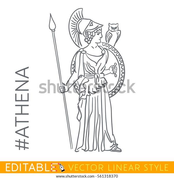 Athena Goddess Reason Wisdom Intelligence Skill Stock Vector