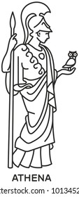 Athena icon svg compatible line draw style vector, Ancient Greek goddess of wisdom, craft, and war