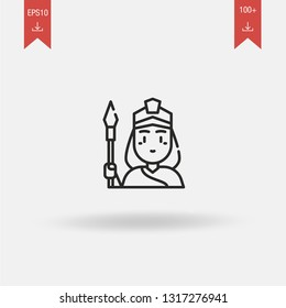 Athena linear vector icon. Modern outline Athena logo concept on white background from Greek Mythology collection. Suitable for use on web apps, mobile apps and print media.