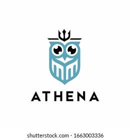 athena logo with owl icon vector
