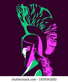 athena minerva goddess portrait with spartan helmet