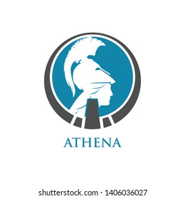 athena and white helmet in circle