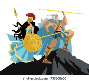 athena and zeus on mount olympus