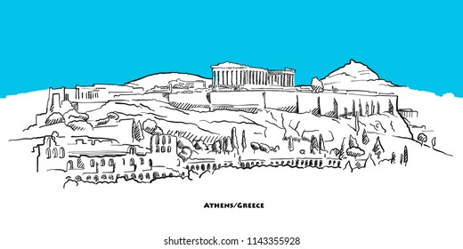 Athens acropolis landmark banner with blue sky. Hand-drawn vector sketch.
