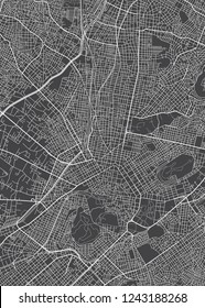 Athens city plan, detailed vector map detailed plan of the city, rivers and streets