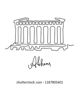 Athens continuous line illustration. Parthenon sketch