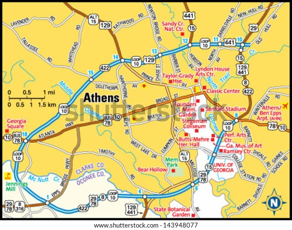 Map Of Georgia Athens.Athens Georgia Area Map Stock Vector Royalty Free 143948077