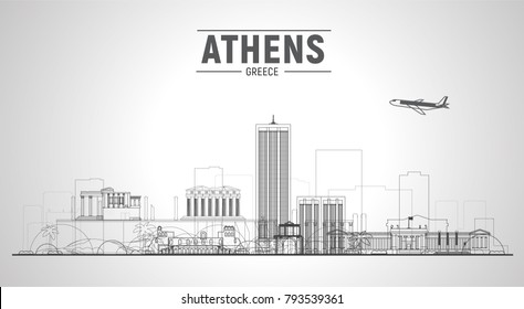 Athens( Greece ) city skyline with panorama on white background. Vector Illustration. Business travel and tourism concept with old buildings. Image for presentation, banner, web site.