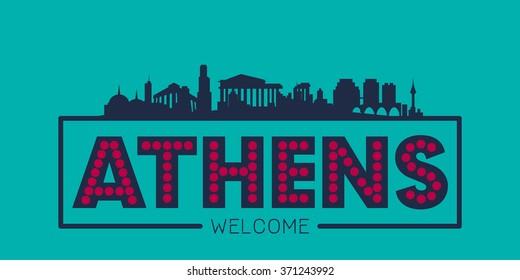 Athens Greece city skyline silhouette vector design