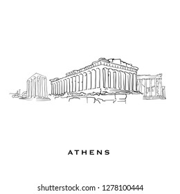 Athens Greece famous architecture. Outlined vector sketch separated on white background. Architecture drawings of all European capitals.