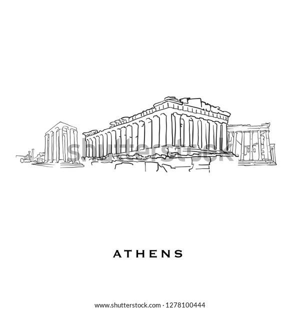Athens Greece Famous Architecture Outlined Vector Stock Vector