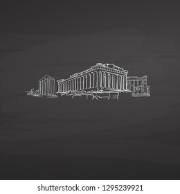Athens Greece signs on blackboard. Digital chalk drawn vector sketch on blackboard. European capitals destinations.
