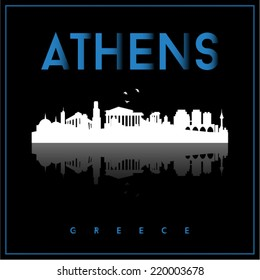 Athens, Greece skyline silhouette vector design on parliament blue and black background.