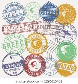 Athens, Greece. Stamp. Vector Art. Postal Passport. Travel Design Set. Postage.