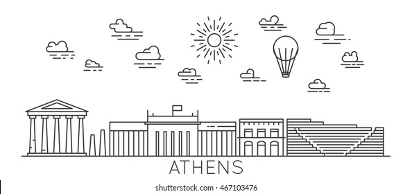 Athens, Greece. Thin line vector illustration