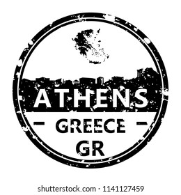 Athens Greece Travel Stamp Icon Skyline City Design Tourism