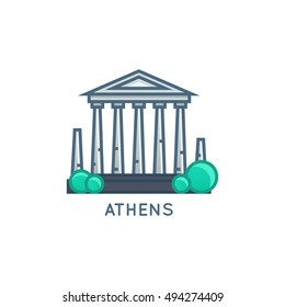 Athens, Greece Vector Flat Line Illustration