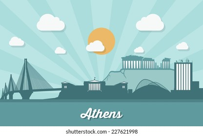 Athens skyline - flat design - vector illustration