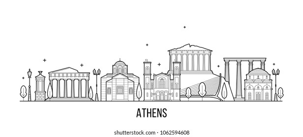 Athens skyline, Greece. This illustration represents the city with its most notable buildings. Vector is fully editable, every object is holistic and movable