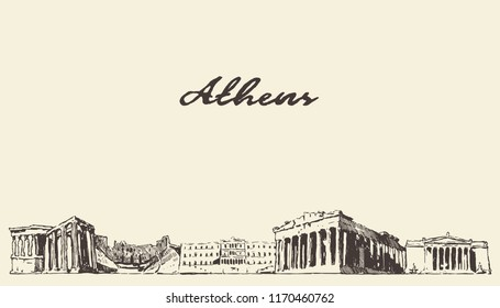 Athens skyline, Greece, vintage engraved illustration, hand drawn, sketch