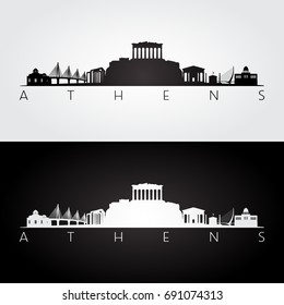Athens skyline and landmarks silhouette, black and white design, vector illustration.