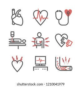 Atherosclerosis. Coronary artery disease. Treatment. Line icons set. Vector signs for web graphics.