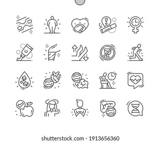 Atherosclerosis. Medicine and health. Analysis, symptoms, treatment. Hereditary disease. Chest pain. Vessels. Pixel Perfect Vector Thin Line Icons. Simple Minimal Pictogram