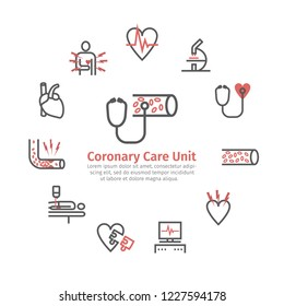 Atherosclerosis round banner. Line icons. Coronary artery disease. Treatment. Line icons set. Vector signs for web graphics.